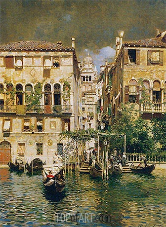 Leaving a Residence on the Grand Canal, undated | Rubens Santoro| Painting Reproduction