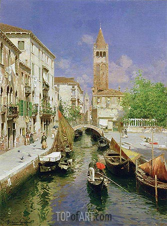 A Venetian Canal, undated | Rubens Santoro| Painting Reproduction