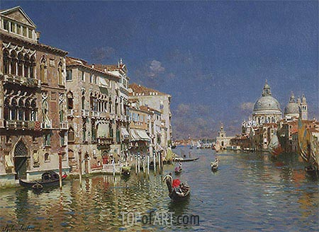Gondola Ride, the Grand Canal, Venice, undated | Rubens Santoro | Painting Reproduction