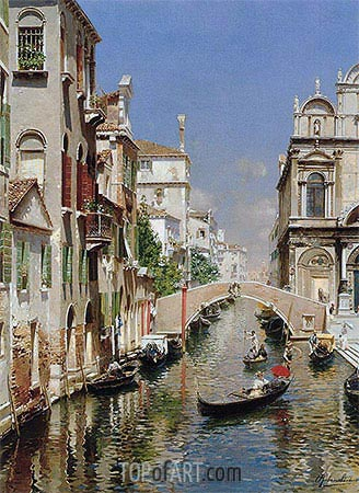 Venetian Canal, undated | Rubens Santoro | Painting Reproduction
