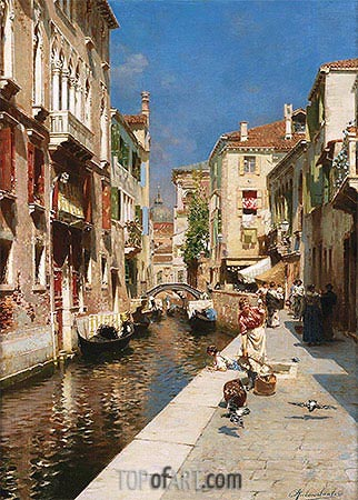 Women Walking beside a Venetian Canal, undated | Rubens Santoro| Painting Reproduction
