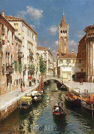 Gondolas on a Venetian Backwater, undated | Rubens Santoro | Painting Reproduction