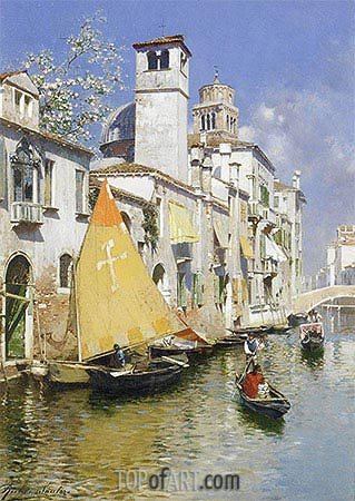 Gondolas on a Venetian Canal, undated | Rubens Santoro| Painting Reproduction