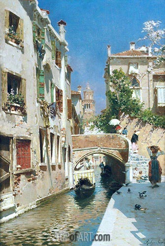 A Woman Carrying Water beside a Venetian Canal, undated | Rubens Santoro| Painting Reproduction