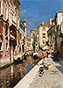 Women Walking beside a Venetian Canal | Rubens Santoro