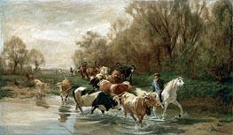 Kuhe mit Reiter am Wasser beim Zurichhorn, 1877 von Rudolf Koller | Gemälde-Reproduktion