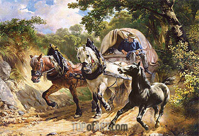 Covered Wagon in a Narrow Path,  | Rudolf Koller | Painting Reproduction