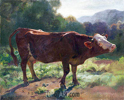 Standing Cow In Landscape, 1858 | Rudolf Koller | Painting Reproduction