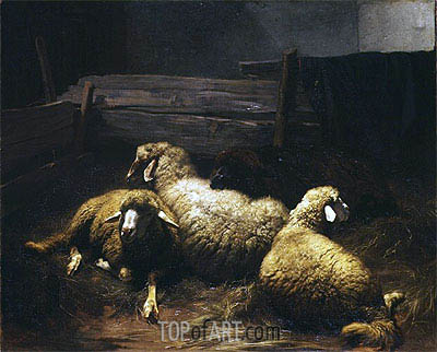 Schafe im Stall, 1861 | Rudolf Koller | Painting Reproduction