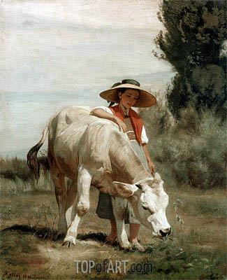 Madchen mit Rind, 1866 | Rudolf Koller | Painting Reproduction