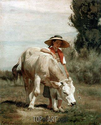 Rudolf Koller | Madchen mit Rind, 1866