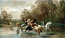 Kuhe mit Reiter am Wasser beim Zurichhorn | Rudolf Koller