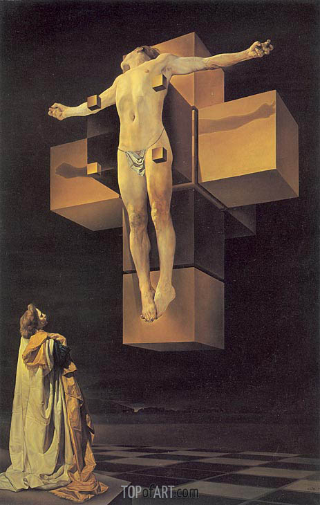Crucifixion (Corpus Hypercubus), 1954 | Dali | Painting Reproduction