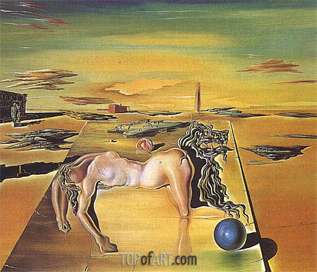 The Invisible Sleeping Woman, Horse, Lion etc., 1930 | Dali | Gemälde Reproduktion