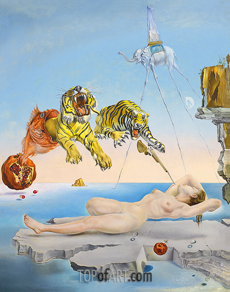 Dali | Dream caused by the Flight of a Bee around a Pomegranate a Second before Wakening up, 1944