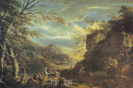 River Landscape with Apollo and the Cumaean Sibyl, c.1655 | Salvator Rosa | Painting Reproduction