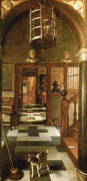 Perspective View Down a Corridor, 1662 by Hoogstraten | Painting Reproduction