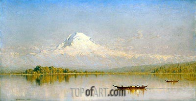 Sanford Robinson Gifford | Mount Rainier, Bay of Tacoma - Puget Sound, 1875