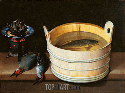 Sebastian Stoskopff | Tub with Carp, Brazier with Artichoke and Green Woodpeckers, undated