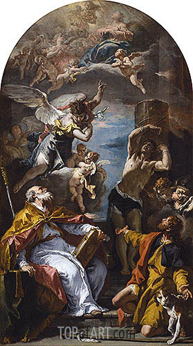 A Glory of the Virgin with the Archangel Gabriel and Saints Eusebius, Roch and Sebastian, c.1724/25 | Sebastiano Ricci| Painting Reproduction