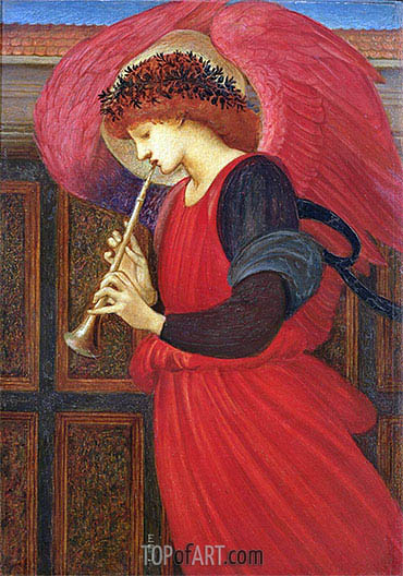 An Angel Playing a Flageolet,  | Burne-Jones| Painting Reproduction