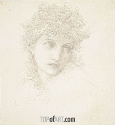 Head of a Young Woman, 1870 | Burne-Jones | Painting Reproduction