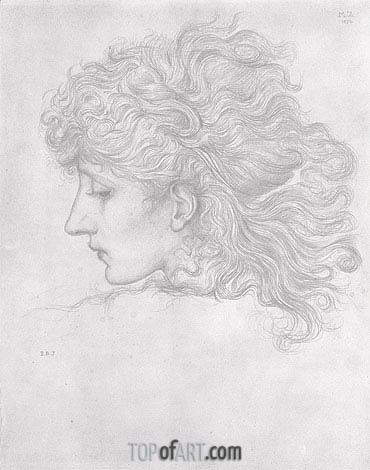 Head of a Young Woman, Profile, 1870 | Burne-Jones| Painting Reproduction