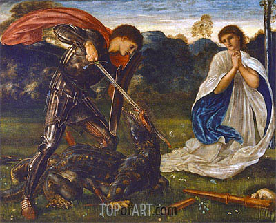 The Fight: St. George Kills the Dragon, 1866 | Burne-Jones| Painting Reproduction