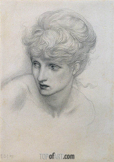 Study of a Girl's Head, 1875 | Burne-Jones| Painting Reproduction