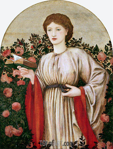 Girl with Book with Roses Behind, undated | Burne-Jones| Painting Reproduction