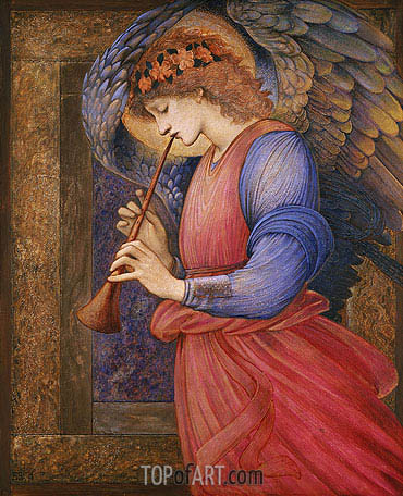 Angel Playing a Flageolet, 1878 | Burne-Jones | Gemälde Reproduktion
