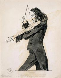 Niccolo Paganini Playing the Violin, 1831 von Landseer | Gemälde-Reproduktion