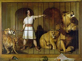 Portrait of Mr Van Amburgh as he Appeared with his Animals at the London Theatre, 1847 by Landseer | Painting Reproduction