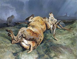 A Deer Just Shot, 1828 by Landseer | Painting Reproduction