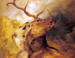 Stag and Hound, undated by Landseer | Painting Reproduction
