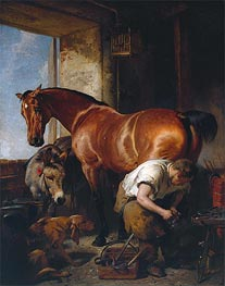 Shoeing, 1844 by Landseer | Painting Reproduction