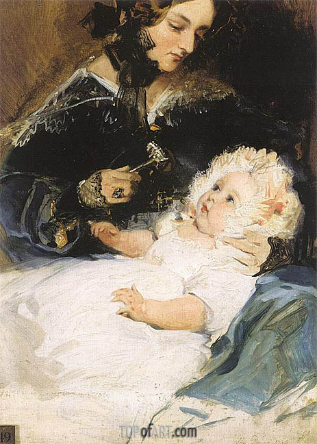 The Duchess of Abercorn and her Daughter, 1834 | Landseer | Painting Reproduction