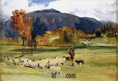 A Shepherd and his Flock, undated | Landseer | Painting Reproduction
