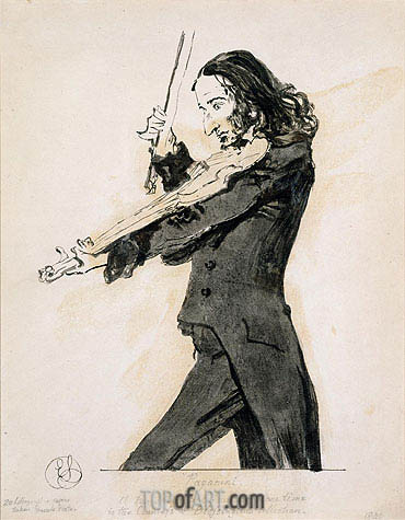 Niccolo Paganini Playing the Violin, 1831 | Landseer| Gemälde Reproduktion
