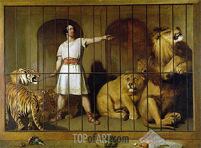 Portrait of Mr Van Amburgh as he Appeared with his Animals at the London Theatre, 1847 | Landseer | Painting Reproduction