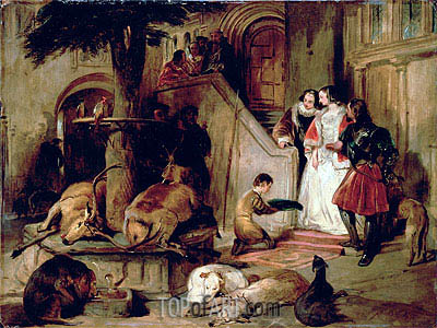 A Courtyard in Olden Times, c.1834 | Landseer| Painting Reproduction