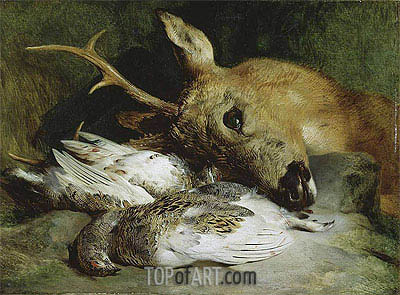 Head of a Roebuck and Two Ptarmigan, c.1830 | Landseer| Painting Reproduction