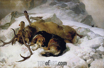 Chevy 'Weel, Sir, if the Deer Got the Ball, Sure's Death Chevy; Will no Leave Him', 1868 | Landseer | Painting Reproduction