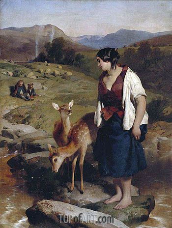 The Highland Lassie, 1850 | Landseer| Painting Reproduction