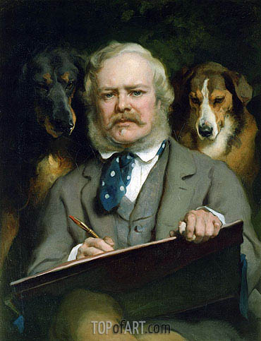 The Connoisseurs: Portrait of the Artist with two Dogs, 1865 | Landseer | Painting Reproduction