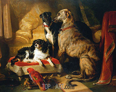 Hector, Nero and Dash with the Parrot Lory, 1838 | Landseer| Painting Reproduction