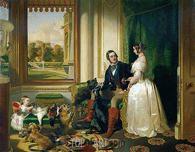 Queen Victoria, Prince Albert and Victoria, Princess Royal, c.1841/45 | Landseer| Painting Reproduction
