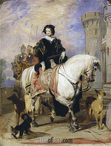 Queen Victoria on Horseback, c.1838 | Landseer | Painting Reproduction