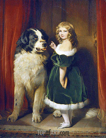Princess Mary Adelaide of Cambridge with 'Nelson' a Newfoundland Dog, c.1839 | Landseer| Painting Reproduction