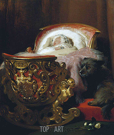 Princess Alice Asleep, 1843 | Landseer| Painting Reproduction